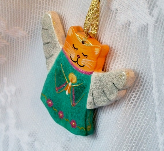 Christmas Ornament - Angel Kitty Cat Hand Painted