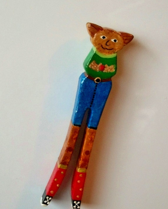 Fridge Magnet - Long Legged Skinny Cat Repurposed Vintage Wooden Clothespin