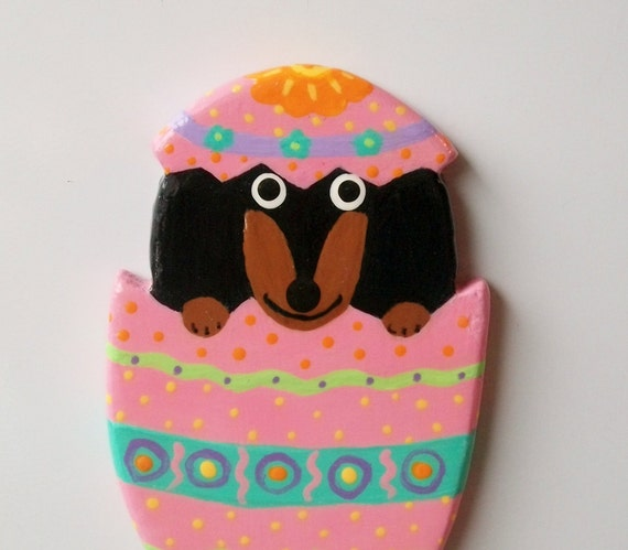 RESERVED LISTING - Dachshund Fridge Magnet - Easter Egg Surprise