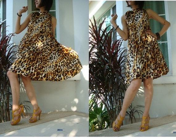 LEOPARD..Pleated dress