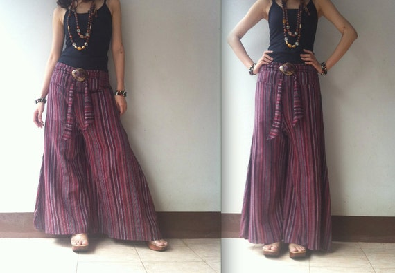 Holiday sale 20% off..Breezy.. stripe wide leg pant in dark red shade