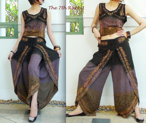 Bollywood Style Set of Blouse & Pants Mangosteen and Brown