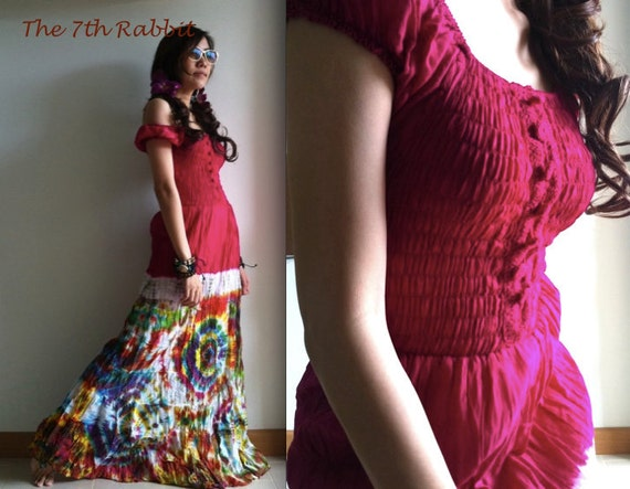 All the holidays....Maxi Dress with Tie Dye in Pink