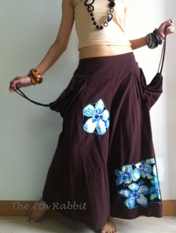 Remember me....Capri Wide Leg Pant with Lovely Appliqué Floral and Stylish Pocket in Brown