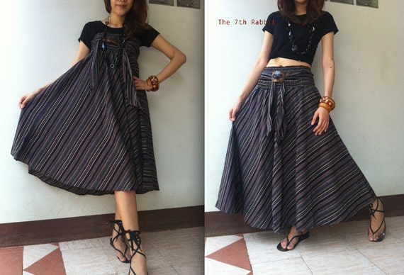 Breezy.. stripe skirt or dress in Dark Blue shade