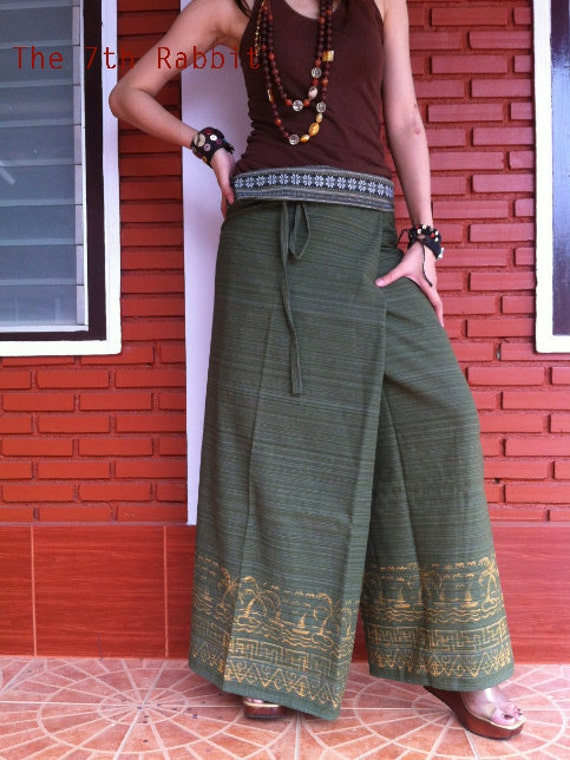 Fisherman Wrap Pant Mixed Skirt in Green