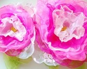 Hot pink organza roses-Set of two flowers-Brooch or comb and hair clip or bobby pin-