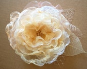 Ivory-champagne-white romantic rose-Brooch, comb or hair clip.