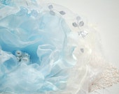Blue-white-ivory organza flower-Brooch,comb,hair clip.