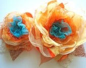 Orange-turquoise-Set of 2 organza flowers-Brooches,hair clips,combs-Bridal corsage,bridesmaid.