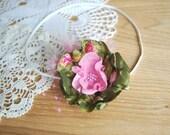Olive green with baby pink-Taffeta with chiffon handmade flower on a skinny stretch elastic headband-Newborn,baby  photography prop
