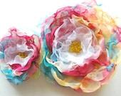 RESERVED- rainbow, colorful handmade chiffon flowers, weddings accessories, brooch, corsage, sash, bridal flowers, bridesmaid, flower girl