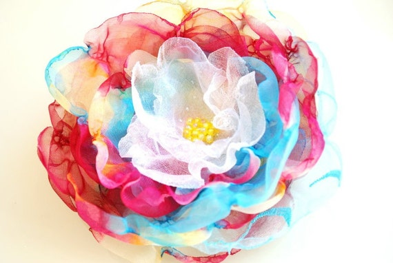 Spring sunset-Colorful chiffon flower-Brooch,comb or hair clip