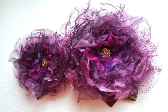 Purple dreams-Set of two organza flowers-Bride,bridesmaid-Brooch,comb,hair clip,bobby pin,flowers for sash.
