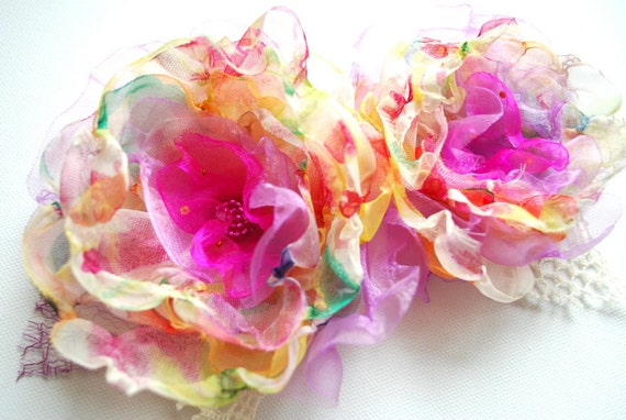 Yellow pink red-Handmade colorful chiffon organza flowers-Set of two-Hair alligator clips-Bride,bridesmaid.