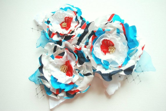 Aqua blue-navy blue-red-white-Nautical flowers-Set of three-Weddings Accessories Brooch Hair Corsage Sash-Bride,bridesmaids,beach weddings