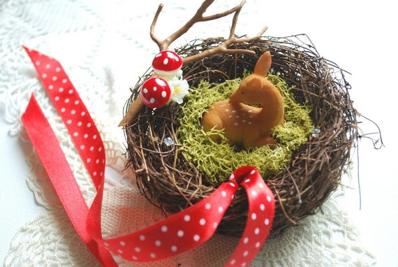 Little fawn-Deer-Weddings Ring bearer pillow-Nature,woodland,rustic,vintage-Outdoor wedding