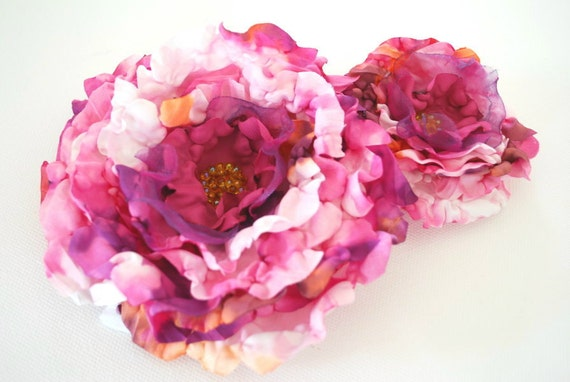 Pink-white-purple peony-Set of two fabric flowers-Brooch,comb,hair clip,corsage-Weddings,accessories,hair,bridal,bridesmaids.