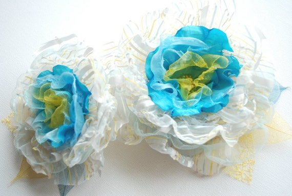 SALE, aqua blue yellow white, striped handmade organza flowers, bridal hair clip, bridesmaids, brooch, weddings accessories, something blue