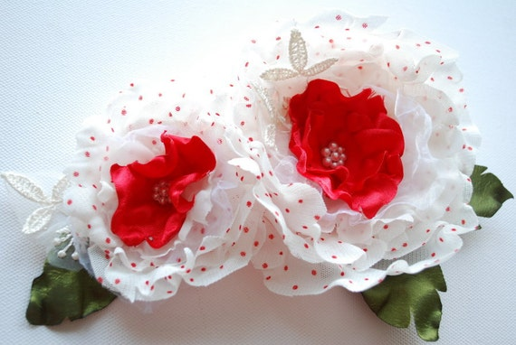 White with red-Polka dots fabric flowers-Set of two (2) handmade flowers-Brooch,comb,hair clip-Bride,bridesmaid
