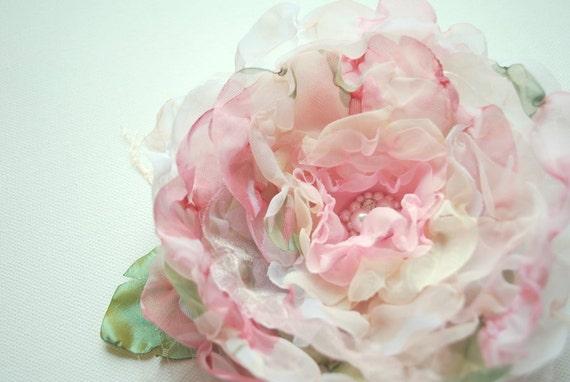 Romantic shabby chic rose-Handmade organza,chiffon flower-Bride, bridesmaid-Brooch,comb,fascinator,corsage,hair clip,flower for sash