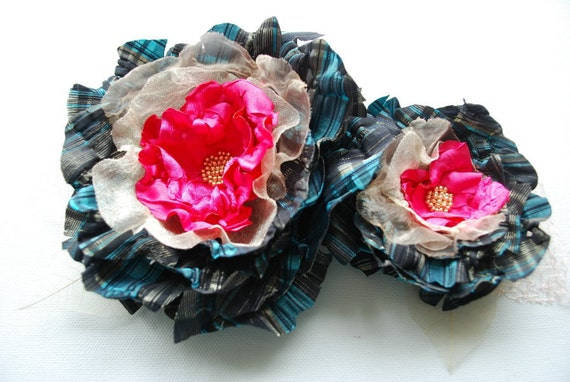 SALE- blue black pink striped fabric flowers, weddings accessories, bridesmaids corsage, flowers for sash, bridal hair clip, autumn, fall