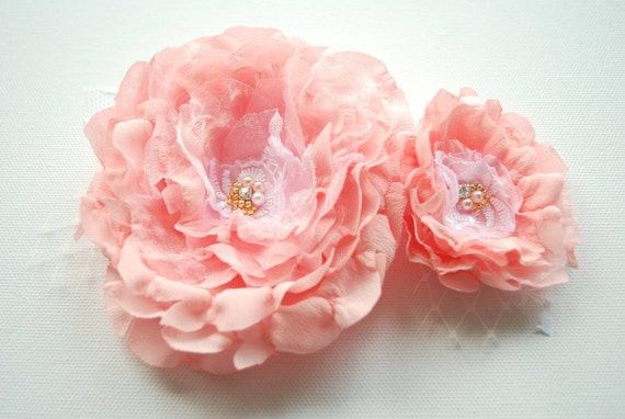 RESERVED for Amelie- pale pink peach roses, bridal hair flowers, fascinator, flowers for sash, weddings accessories, bride, bridesmaids