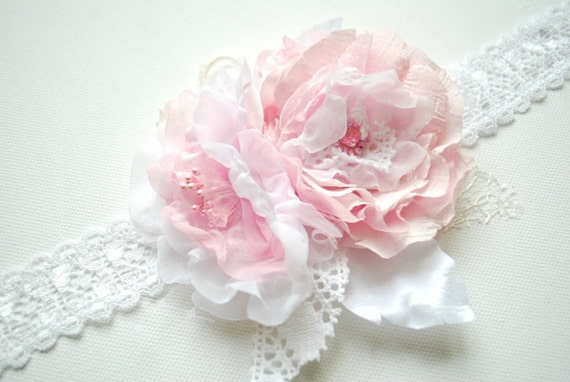 RESERVED -Romantic bridal garter-Weddings Bridal Accessories Garter-Pale pink,white-Lace,chiffon,taffeta,organza