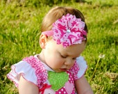 Fabric Flower Hair Clip Pink Damask Print