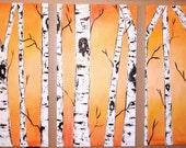 Golden Birch Tree Triptych Commission by Kristen Dougherty HUGE