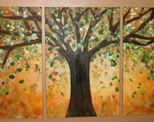 Glowing Tree Triptych Commission by Kristen Dougherty HUGE
