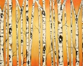 Glowing Birch Trees Commission with Real Texture  by Kristen Dougherty