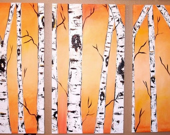 Golden Birch Tree Triptych Commission by Kristen Dougherty HUGE