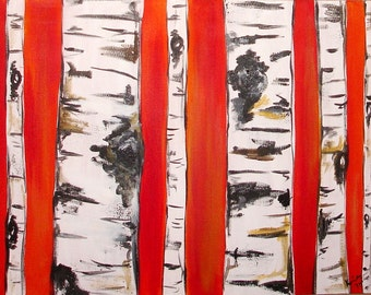 Birch Trees on Red Orange Comission by Kristen Dougherty