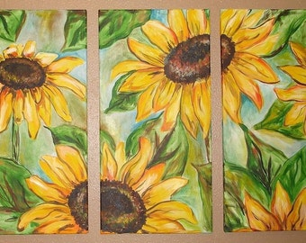 Sunflower Tryptic Commission by Kristen Dougherty