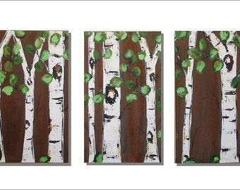 Birch Trees on Chocolate Triptych with Real Texture Commission by Kristen Dougherty
