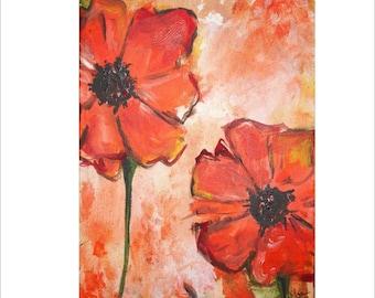 Two Orange Flowers Commission by Kristen Dougherty