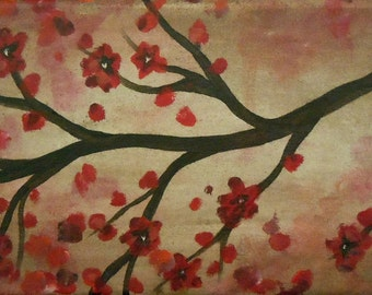 Cherry Blossoms on Brown by Kristen Dougherty