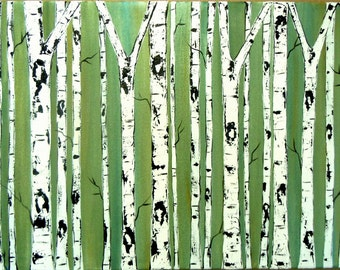 Birch Trees on Emerald Commission by Kristen Dougherty