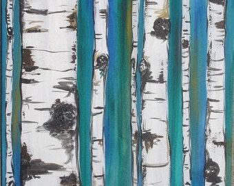 Birch Trees on Blue Commission by Kristen Dougherty