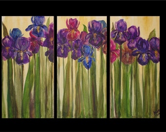 Field of Iris Triptych Commission by Kristen Dougherty