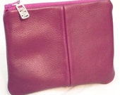 Wee Zipper Pouch in Purple Leather with Lavender Brocade Satin Lining and Silver Diva Charm