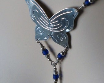 Stunning sterling silver cobalt blue Butterfly necklace
