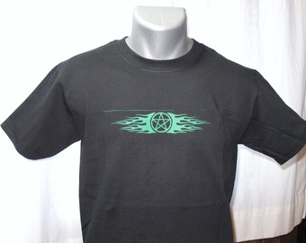 Flaming Pentagram in green on black t-shirt