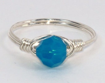 Beautiful Sterling Silver ring with Caribbean Blue Opal Swarovski