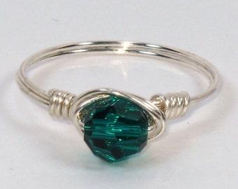 Sterling Silver and Emerald Swarovski Crystal Ring