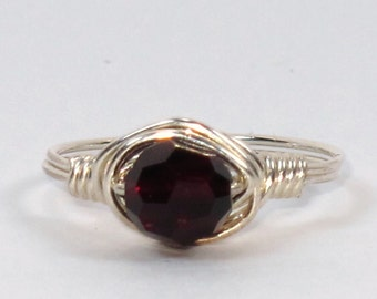 Sterling Silver Ring with Garnet Swarovski Crystal