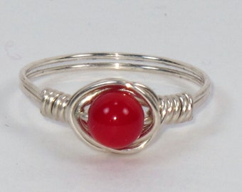 Sterling Silver and 4mm Red Coral Ring
