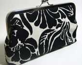 Black and White Floral Ruffled Frame Clutch - Ready to Ship