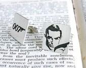 SHAKEN NOT STIRRED - sterling silver cufflinks with James Bond